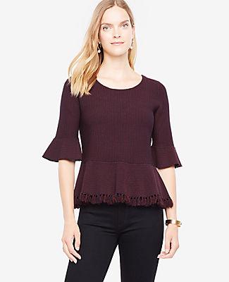 Ann Taylor Fringe Hem Peplum Sweater