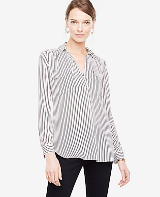 Ann Taylor Tall Striped Camp Shirt