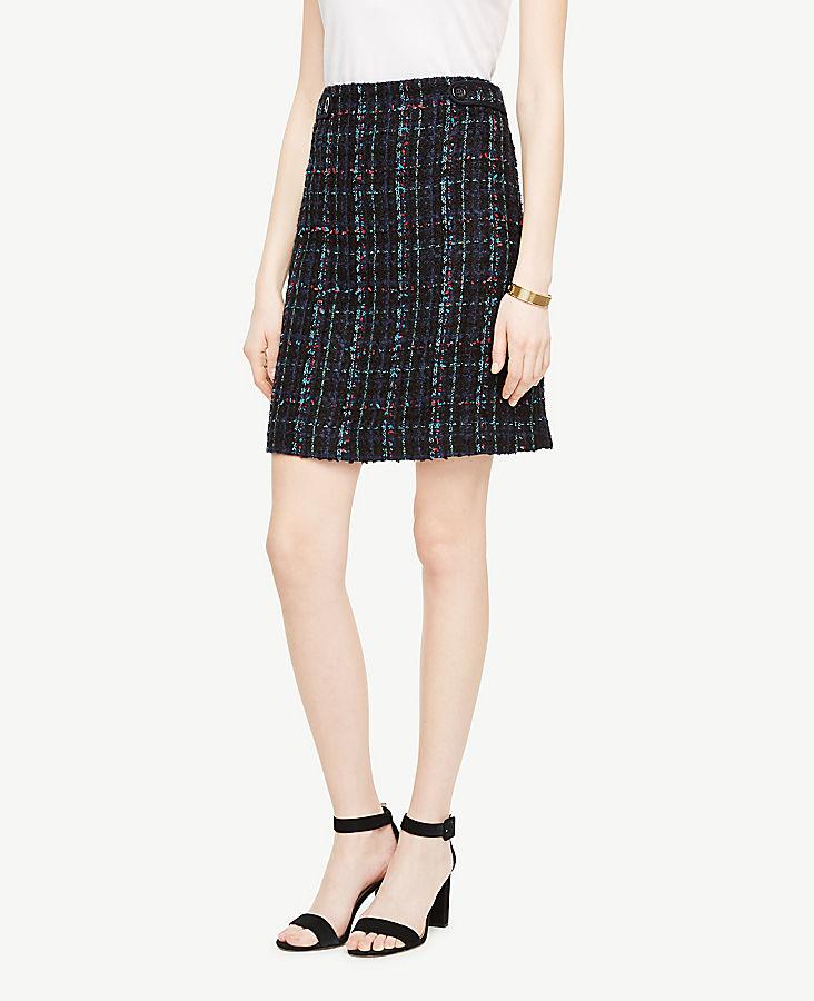 Tweed Button Tab Skirt | Tuggl