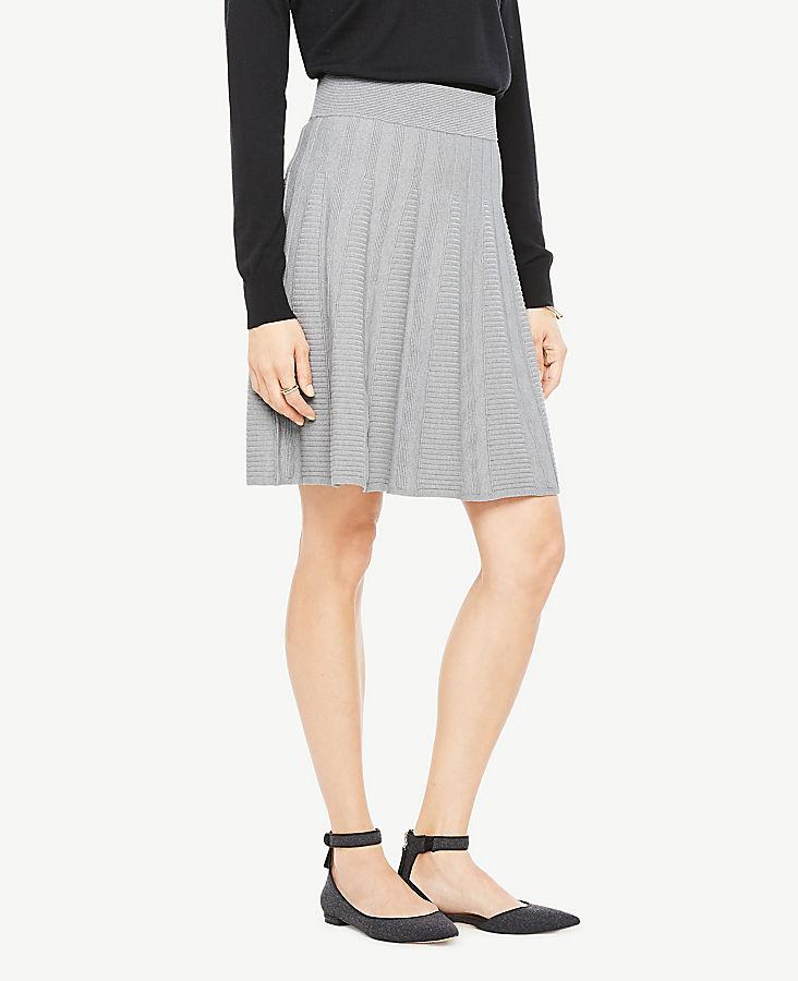 Petite Stitched Flare Sweater Skirt