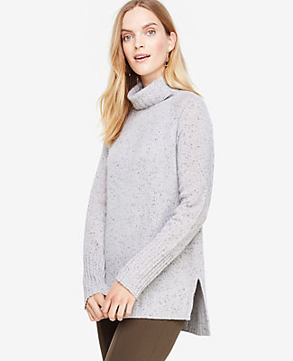 Ann Taylor Cashmere Flecked Turtleneck Tunic Sweater