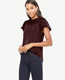 Ann Taylor Petite Pleated Flutter Top 23740419