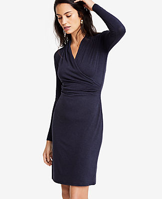 Meet your real-life uniform: this is Luxewear. Every day. Every wear. In a soft and stretchy knit, this dress has all the allure of the perfect wrap dress - without the work. Crossover V-neck. Long sleeves. Pleats at shoulders and side seam. Lined body, unlined sleeves. 22 1/2 from natural waist.
