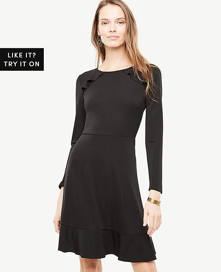 Petite Knit Ruffle Flare Dress