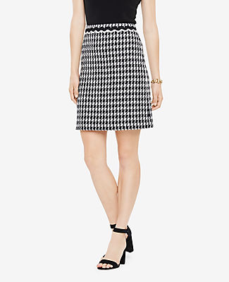 Ann Taylor Houndstooth Fringe A-Line Skirt