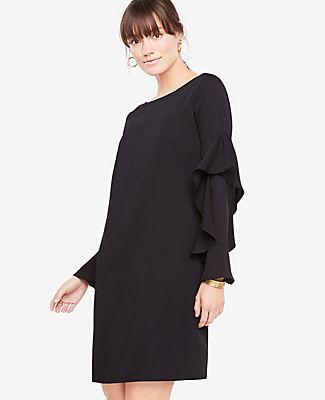 Ann Taylor Cascading Ruffle Sleeve Shift Dress