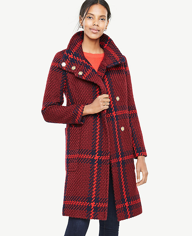 Tall Plaid Funnel Neck Coat | Tuggl