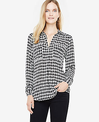 Ann Taylor Petite Houndstooth Camp Shirt
