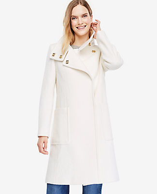 Ann Taylor Tall Boucle Funnel Neck Coat