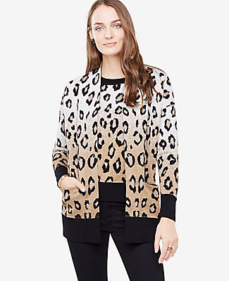 Ann Taylor Petite Leopard Pocket Cardigan 24076869