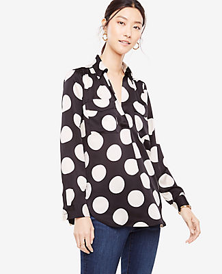 Ann Taylor Petite Polka Dot Camp Shirt