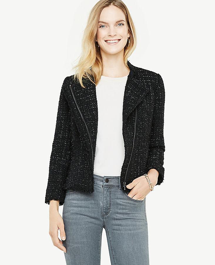 Petite Shimmer Tweed Moto Jacket