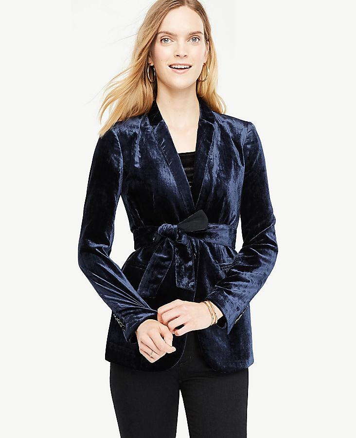 Petite Belted Velvet Blazer