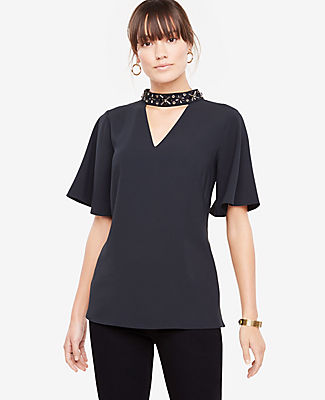Ann Taylor Petite Beaded Neck Cutout Top 24202671