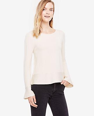 Ann Taylor Ruffle Trim Peplum Sweater