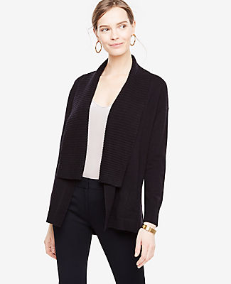 Ann Taylor Petite Ribbed Shawl Collar Open Cardigan 24314183