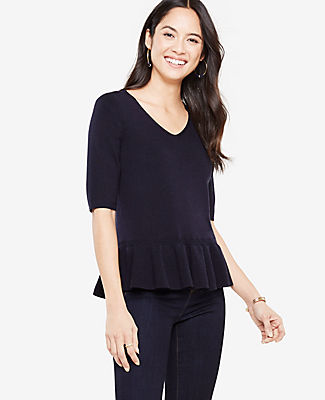 Ann Taylor Elbow Sleeve Peplum Sweater