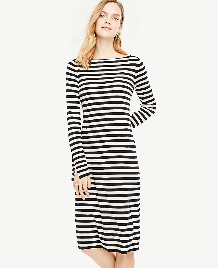 Petite Striped Slit Cuff Sweater Dress | Tuggl