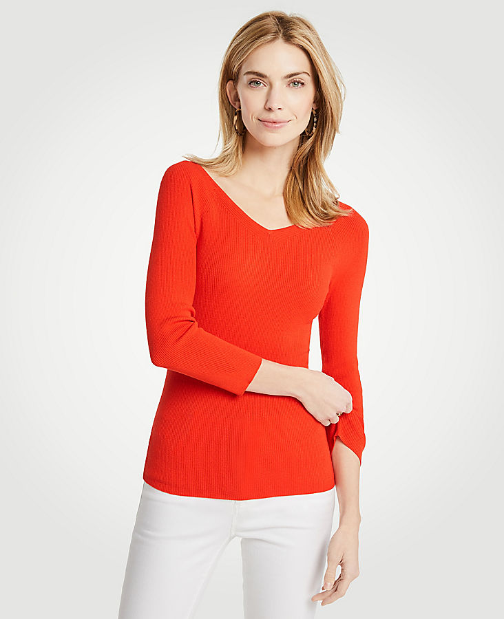 Ribbed Wide V-Neck Sweater | Tuggl