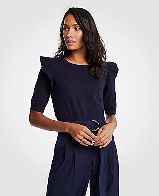 Ann Taylor Ruffle Shoulder Sweater 24837798