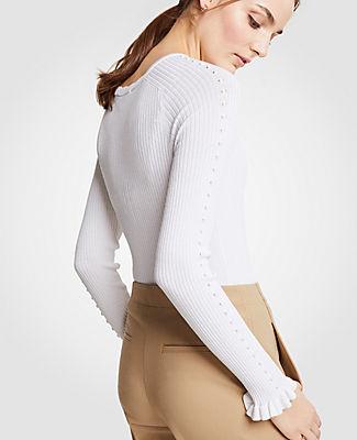 Ann Taylor Ribbed Ruffle Cuff Sweater 24838221