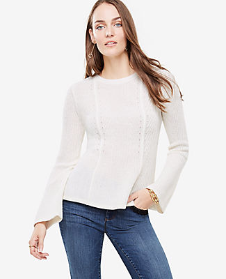 Ann Taylor Petite Ribbed Peplum Sweater