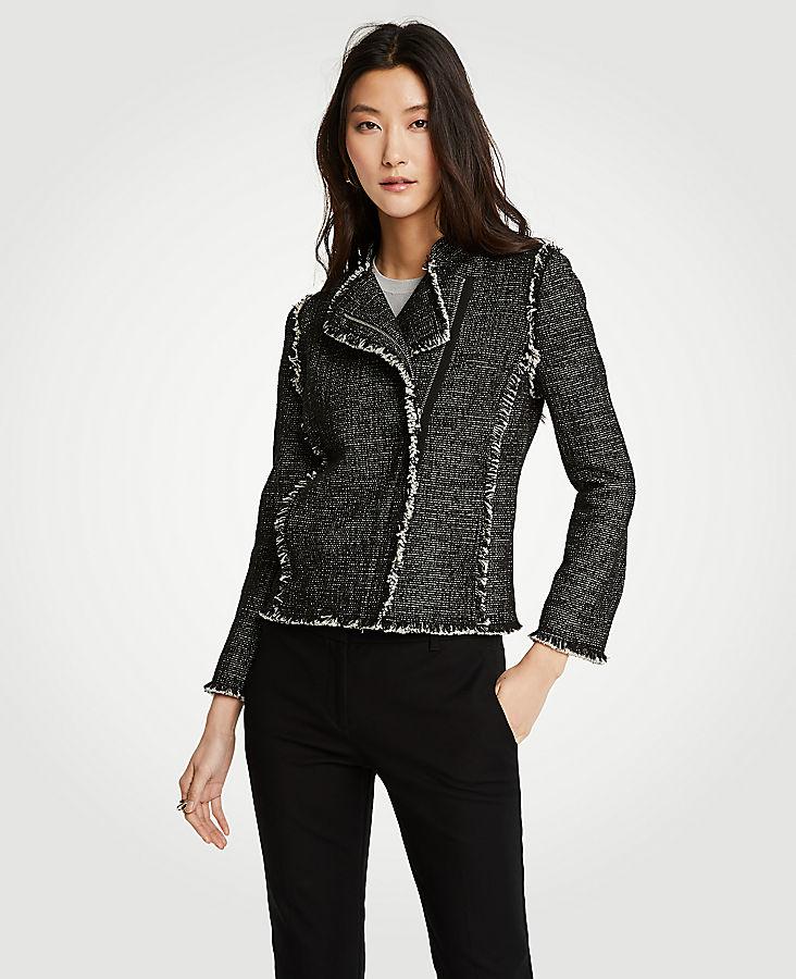 Tweed Fringe Moto Jacket | Tuggl