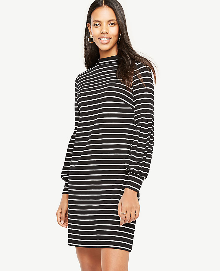 Striped Lantern Sleeve Shift Dress | Tuggl