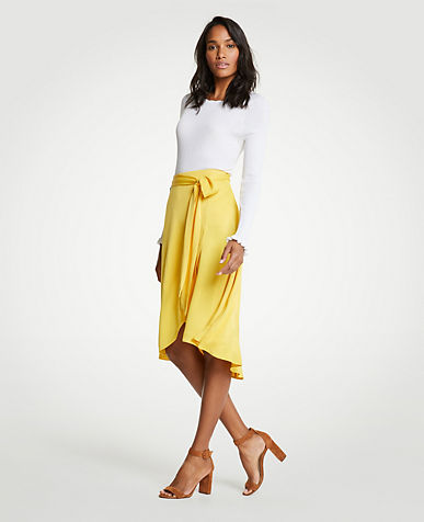 Tie Waist Wrap Maxi Skirt