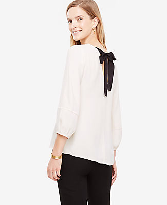 Ann Taylor Petite Bow Back Puff Sleeve Blouse