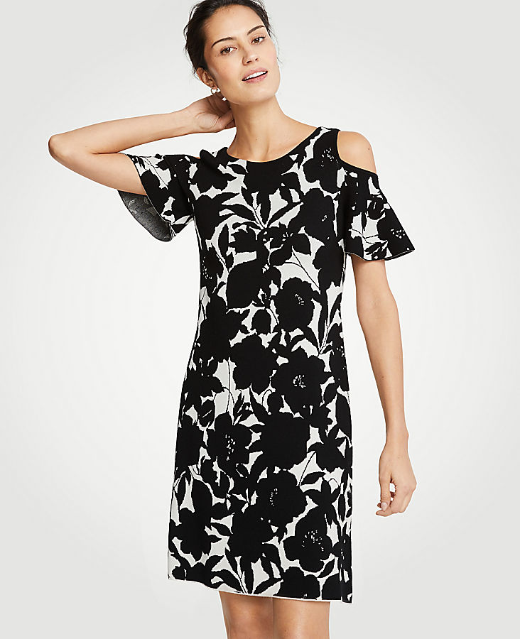floral-cold-shoulder-sweater-dress by ann-taylor