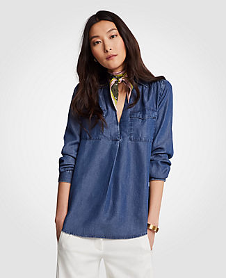 Ann Taylor Chambray Camp Shirt