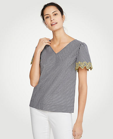 Gingham Embroidered Sleeve Tee