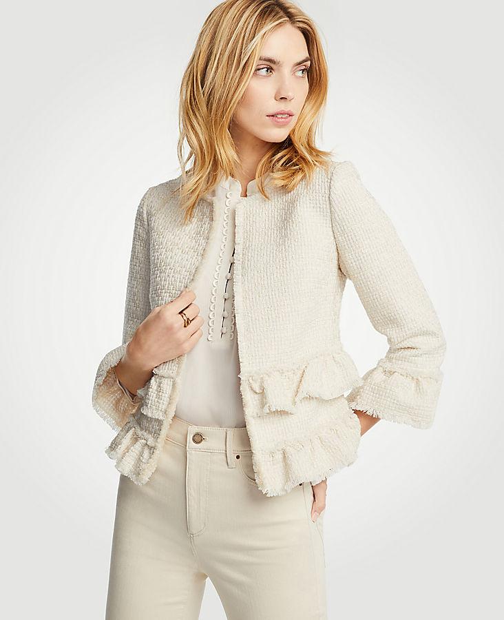 Ruffle Tweed Jacket | Tuggl