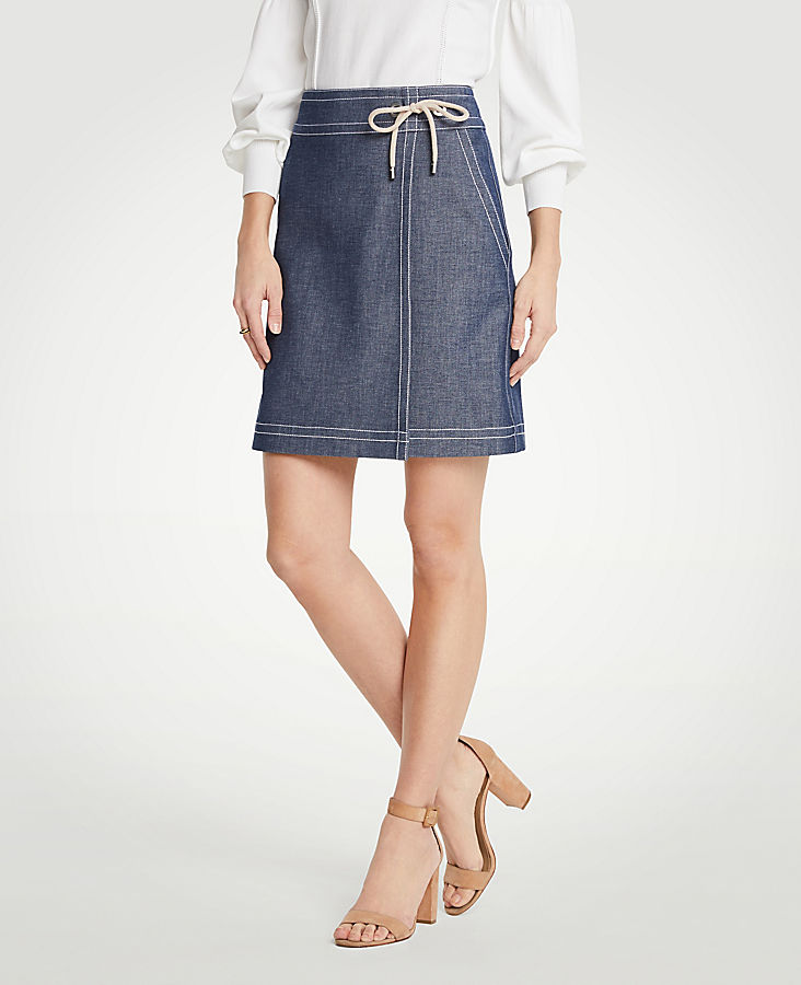 Chambray Wrap A-Line Skirt | Tuggl