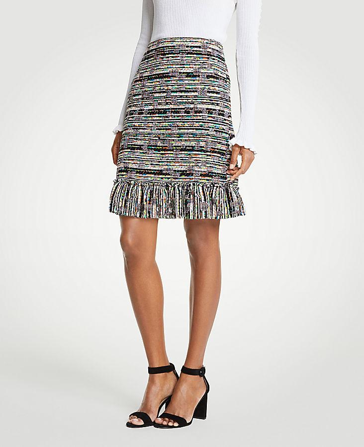 Mixed Tweed Ruffle Skirt   Tuggl