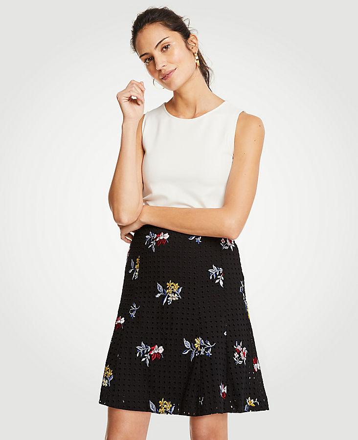 Embroidered Floral Eyelet Full Skirt   Tuggl