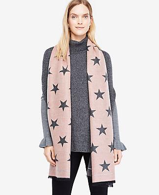 Ann Taylor Reversible Star Print Blanket Scarf