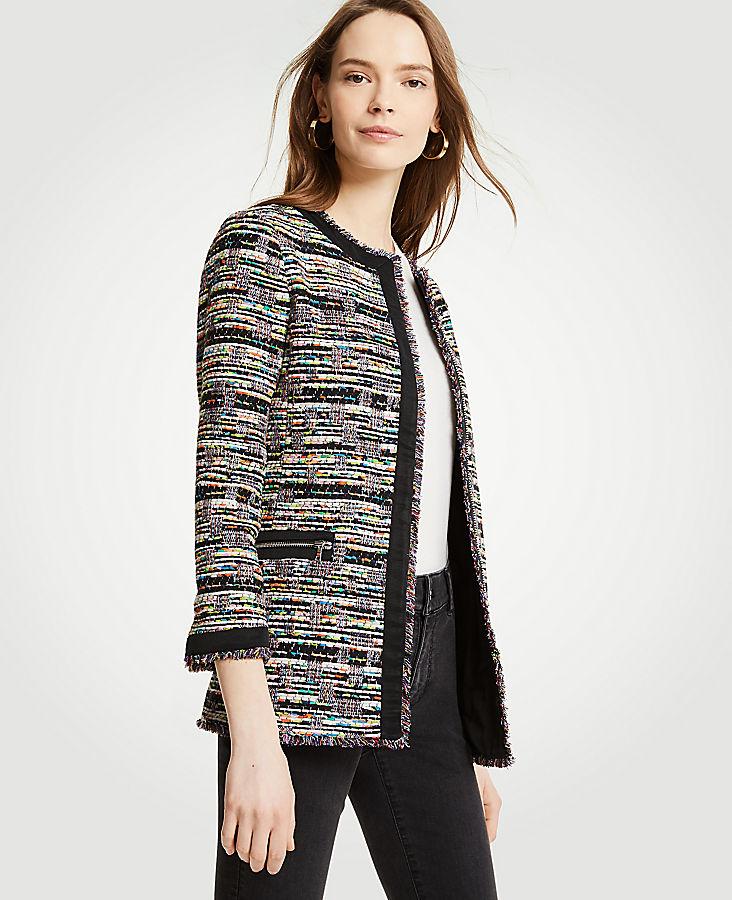 Mixed Tweed Zip Pocket Jacket | Tuggl