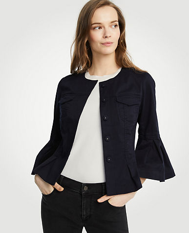 Twill Flounce Sleeve Jacket