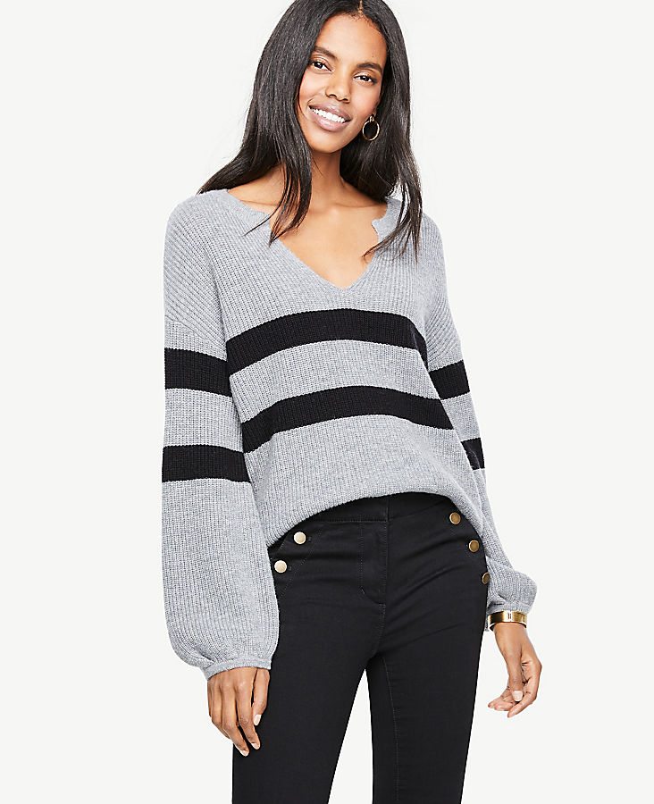 Striped Split Neck Balloon Sleeve Sweater | Tuggl