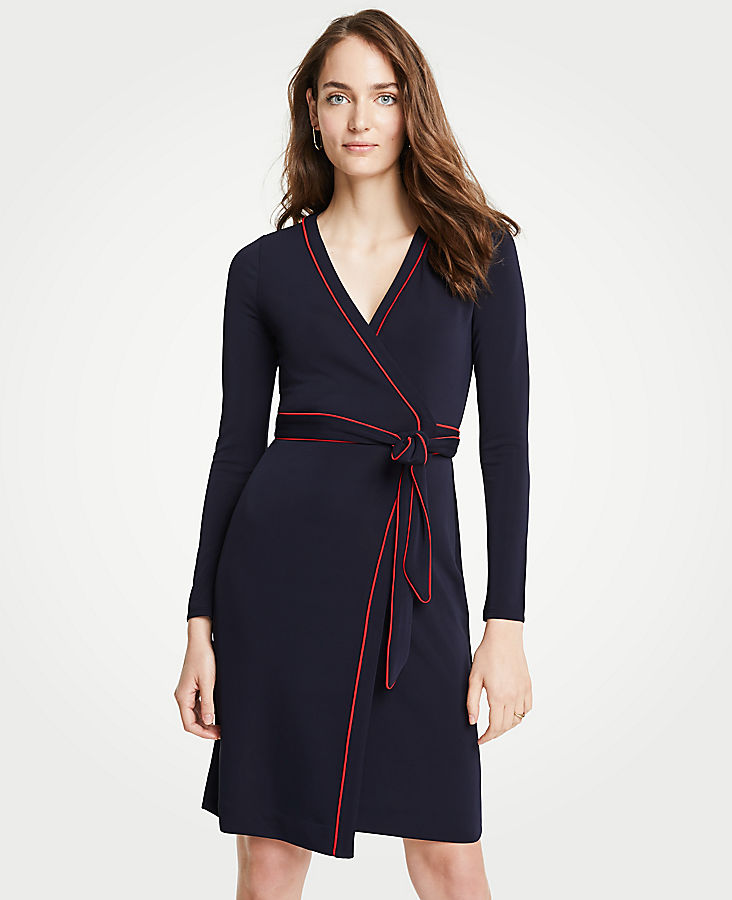 Petite Piped Wrap Dress | Tuggl