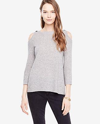 Ann Taylor Cold Shoulder Button Sweater 24192125