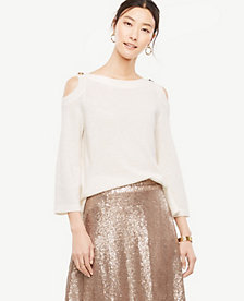 Ann Taylor Cold Shoulder Button Sweater 24192194