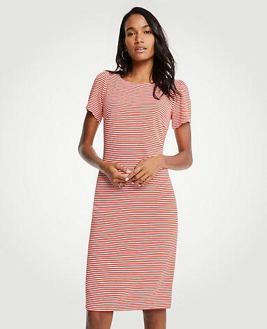 Striped Puff Sleeve Ponte Sheath Dress