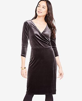 Ann Taylor Petite Velvet Faux Wrap Dress