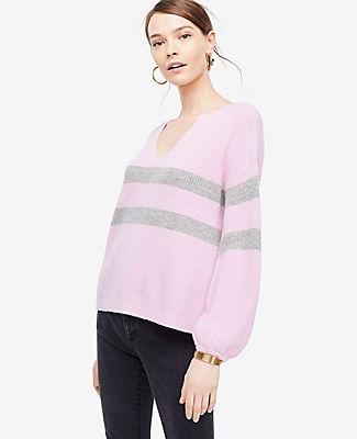Ann Taylor Petite Striped Split Neck Balloon Sleeve Sweater 24312578