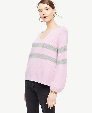 Petite Striped Split Neck Balloon Sleeve Sweater