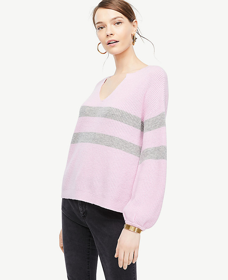 Petite Striped Split Neck Balloon Sleeve Sweater | Tuggl