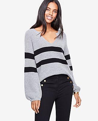Ann Taylor Petite Striped Split Neck Balloon Sleeve Sweater 24314916